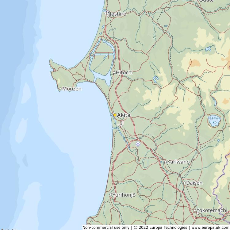 Map of Akita, Japan from the Global 1000 Atlas