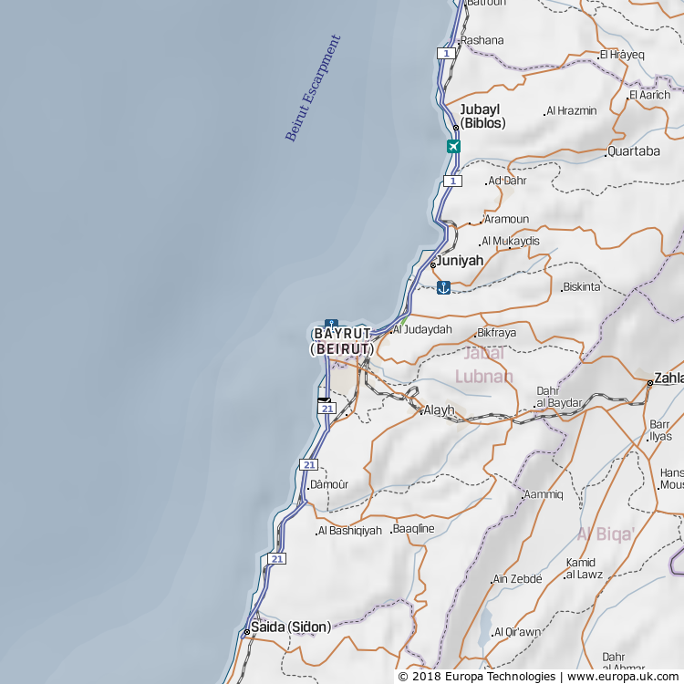 Map of Bayrut (Beirut), Lebanon from the Global 1000 Atlas