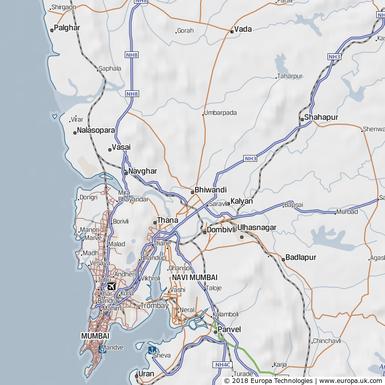 Map of Bhiwandi, India from the Global 1000 Atlas