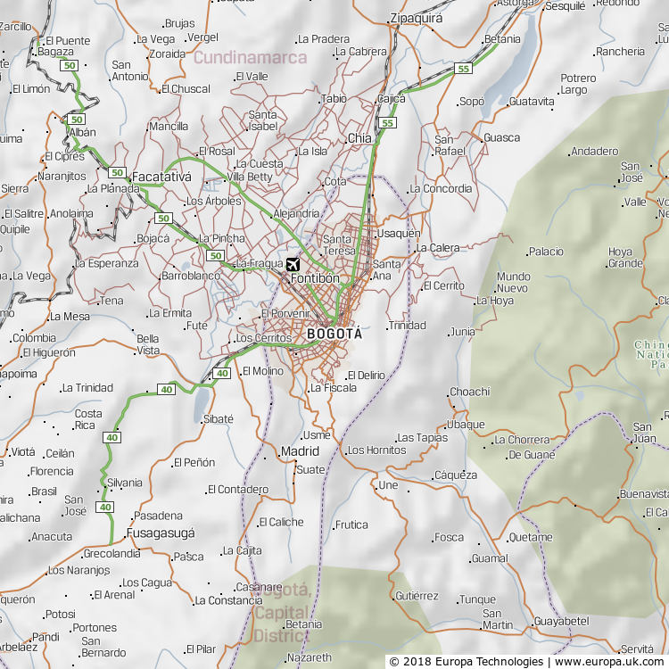 Map of Bogotá, Colombia from the Global 1000 Atlas