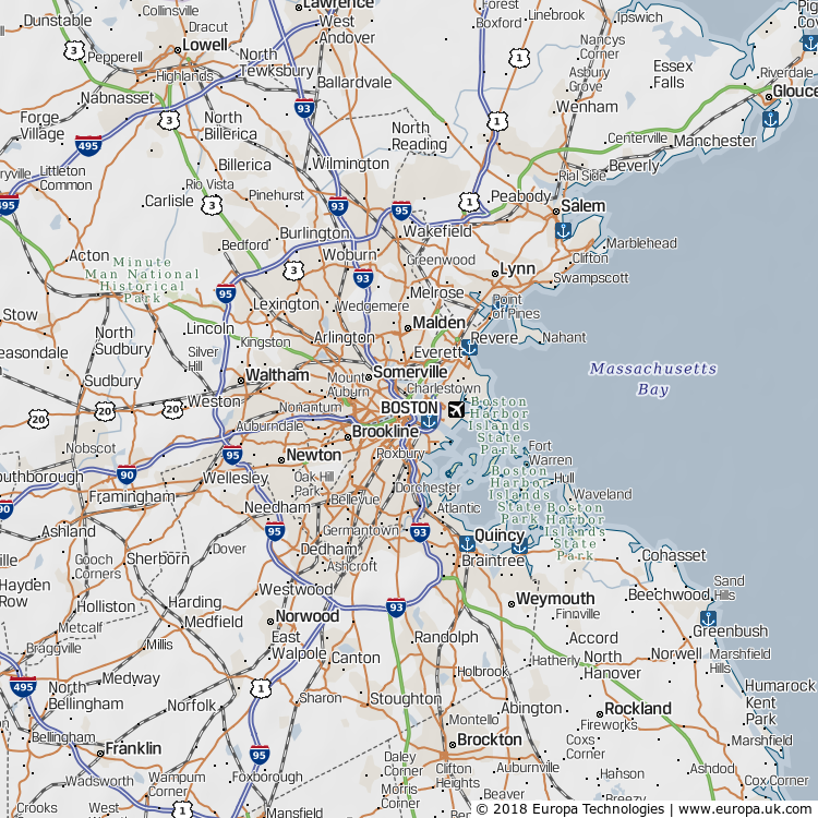 Map of Boston, United States from the Global 1000 Atlas