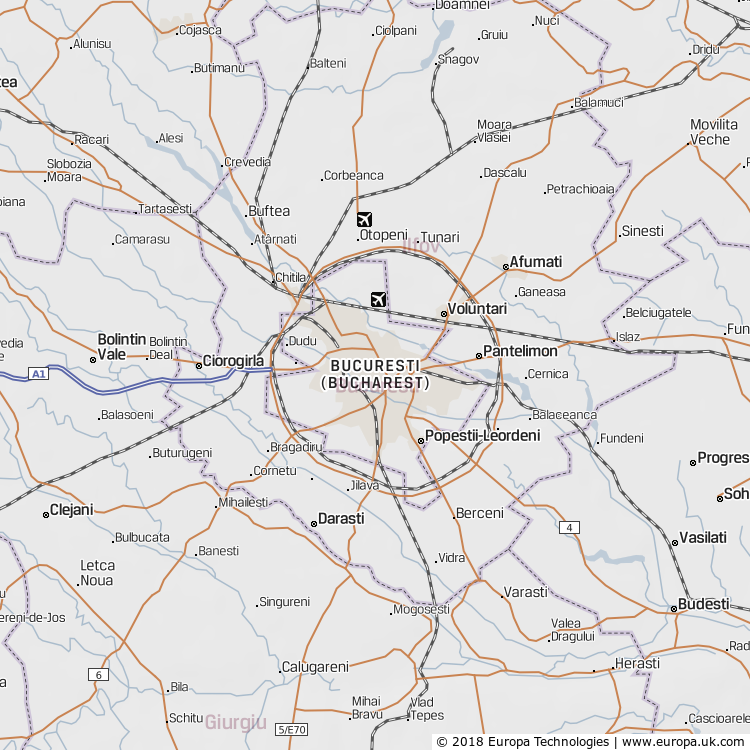 Map of Bucuresti (Bucharest), Romania from the Global 1000 Atlas