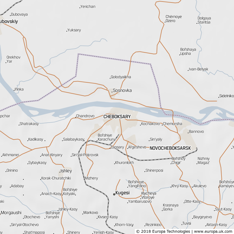 Map of Cheboksary, Russia from the Global 1000 Atlas