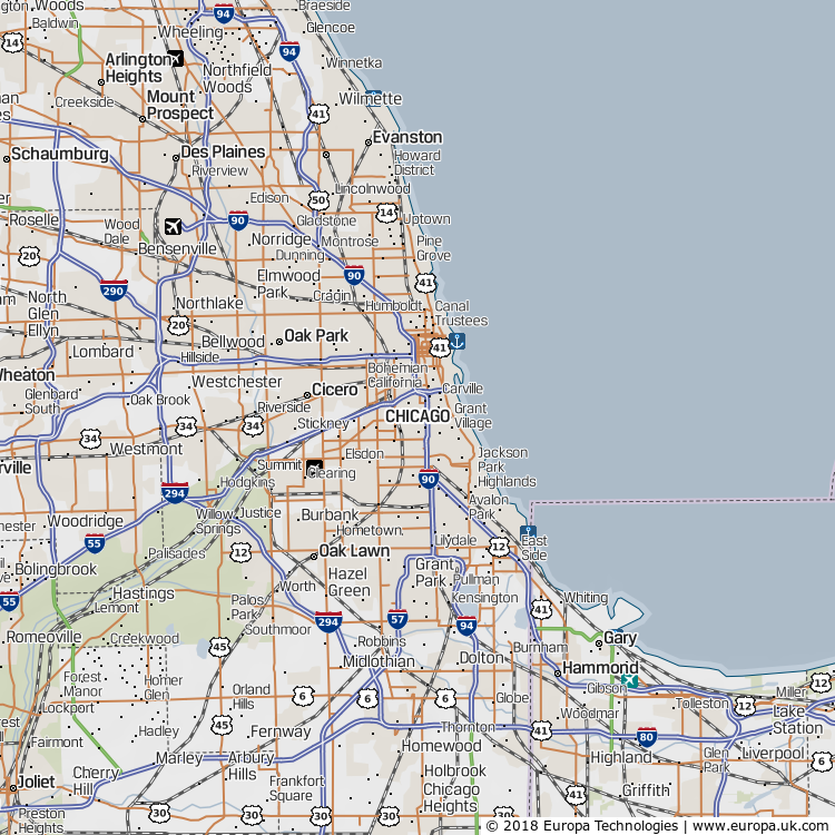 Map of Chicago, United States from the Global 1000 Atlas