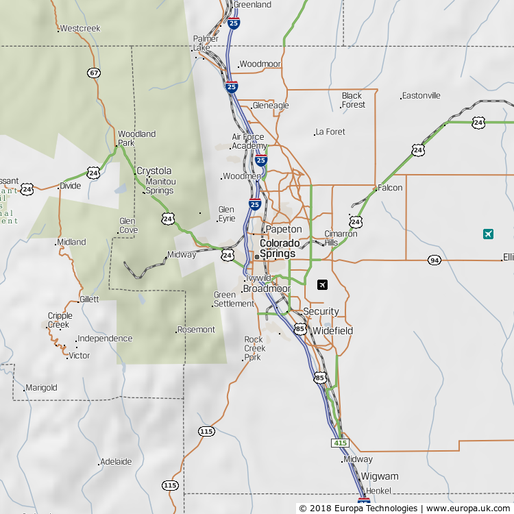 Map of Colorado Springs, United States from the Global 1000 Atlas