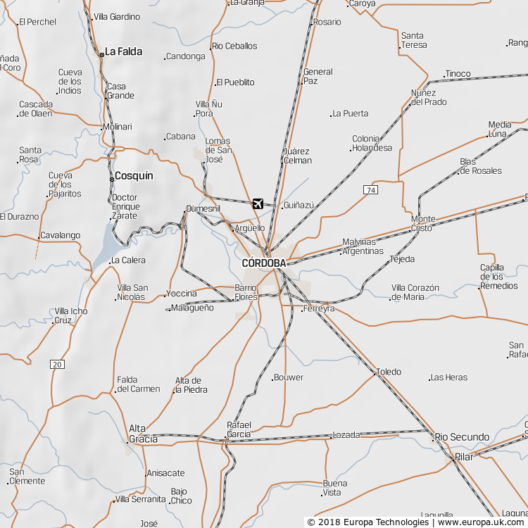 Map of Córdoba, Argentina from the Global 1000 Atlas