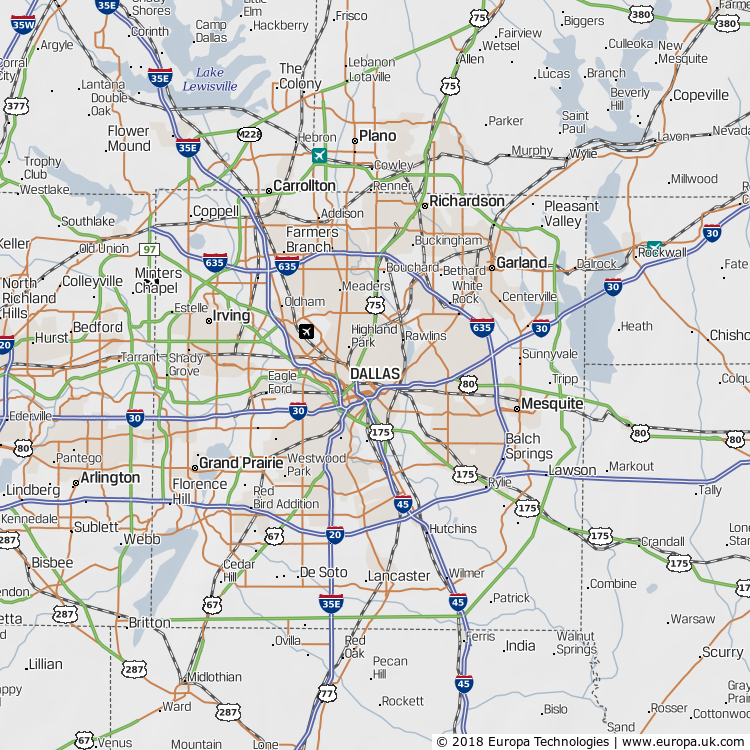 Map of Dallas, United States from the Global 1000 Atlas