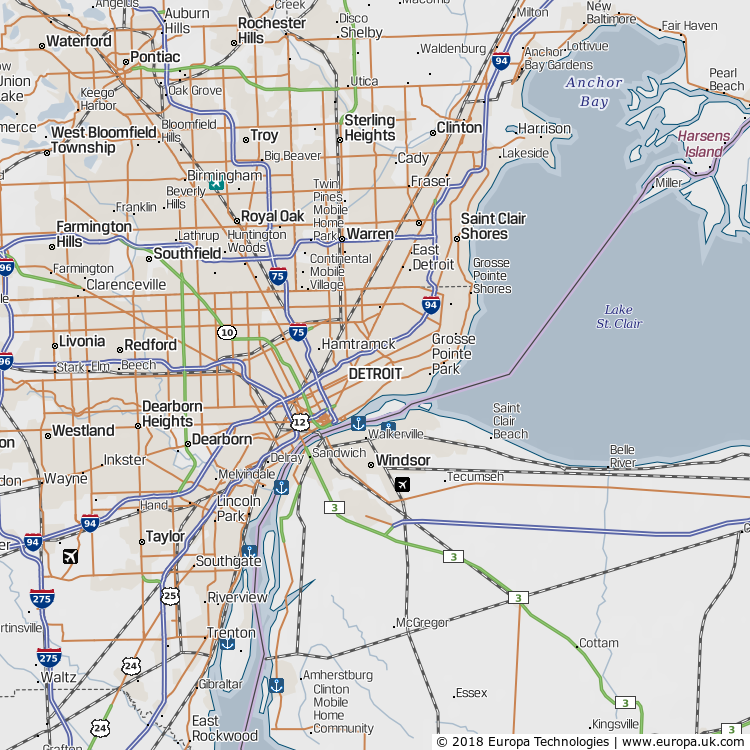 Map of Detroit, United States from the Global 1000 Atlas