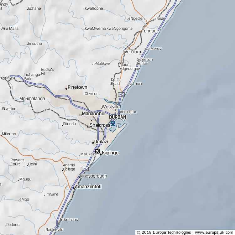 Map of Durban, South Africa from the Global 1000 Atlas