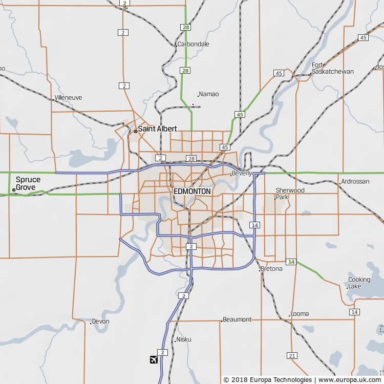 Map of Edmonton, Canada from the Global 1000 Atlas