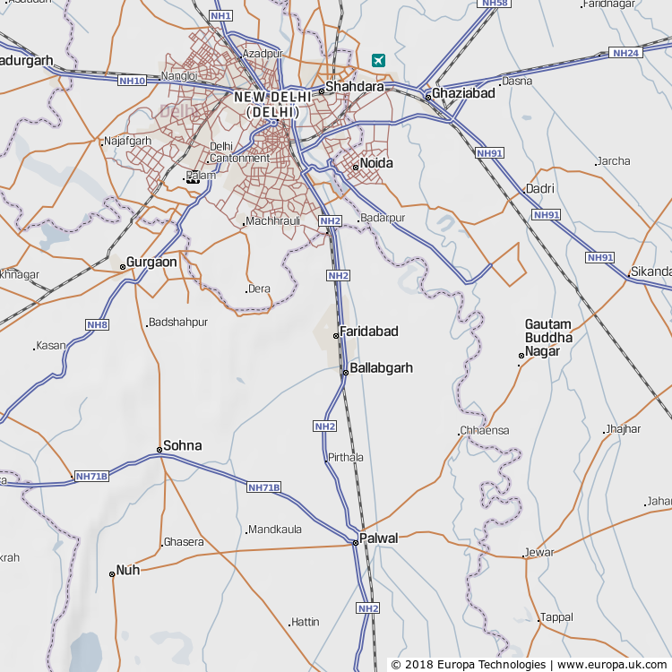 Map of Faridabad, India from the Global 1000 Atlas