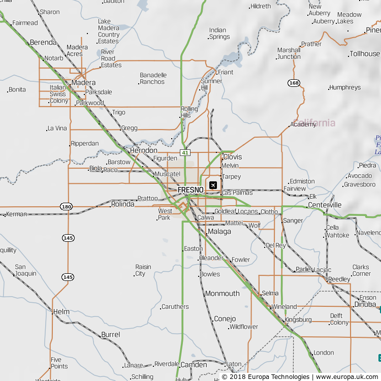 Map of Fresno, United States from the Global 1000 Atlas