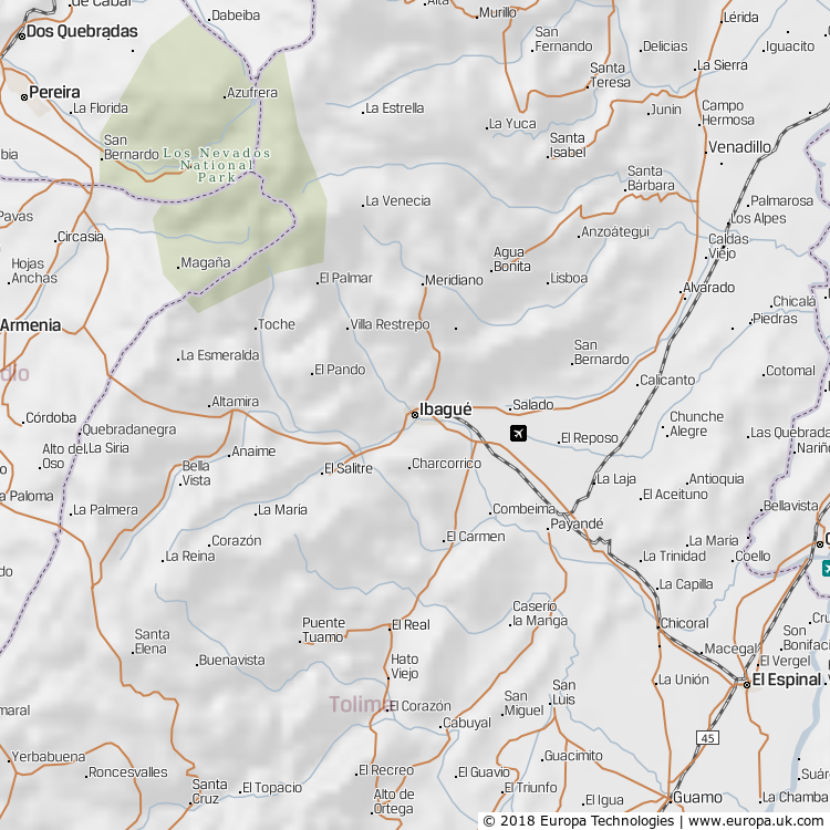 Map of Ibagué, Colombia from the Global 1000 Atlas