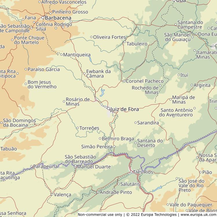 Map of Juiz de Fora, Brazil from the Global 1000 Atlas