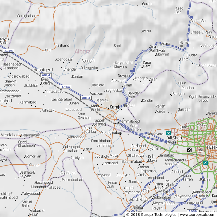 Map of Karaj, Iran from the Global 1000 Atlas