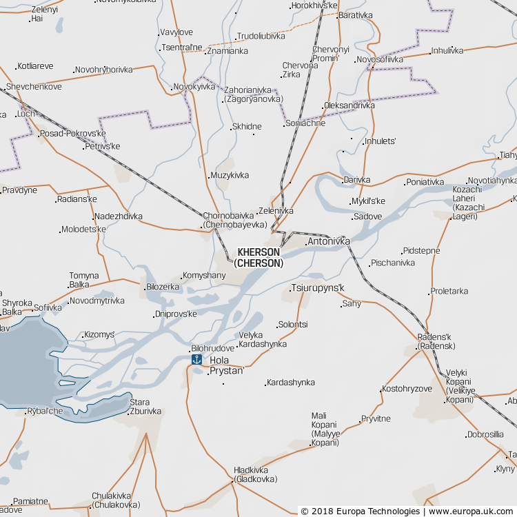 Map of Kherson, Ukraine from the Global 1000 Atlas