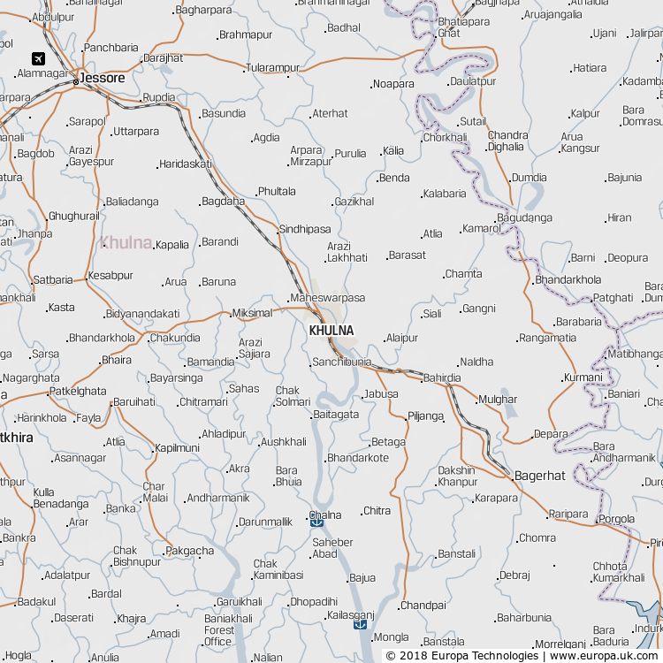 Map of Khulna, Bangladesh from the Global 1000 Atlas