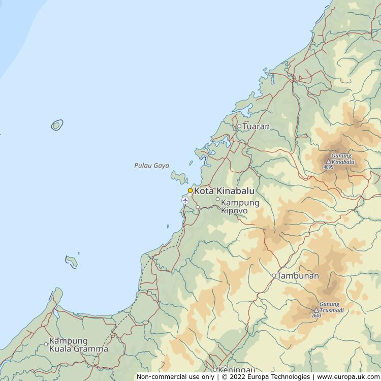 Map of Kota Kinabalu, Malaysia from the Global 1000 Atlas