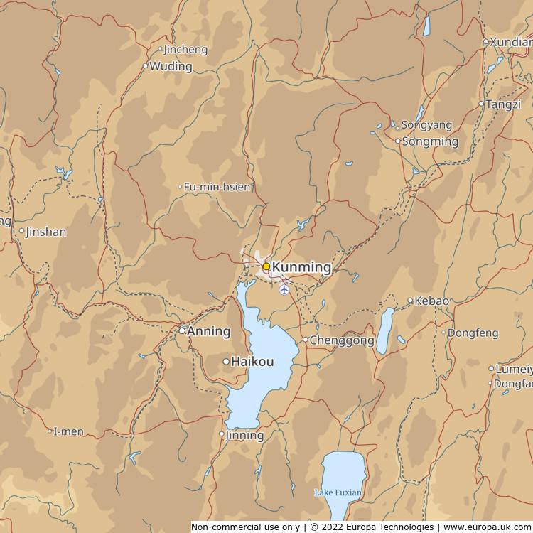 Map of kunming china global 1000 atlas map of kunming china gumiabroncs Choice Image