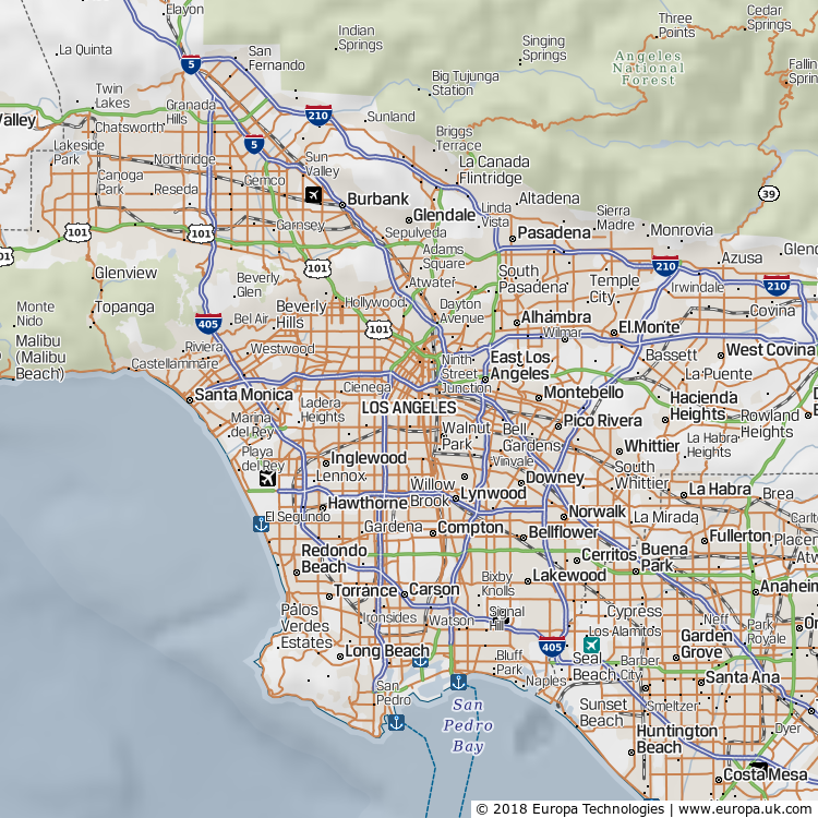 Map of Los Angeles, United States from the Global 1000 Atlas