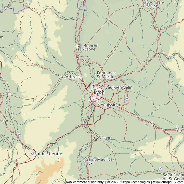 Map Of Lyon France Global 1000 Atlas