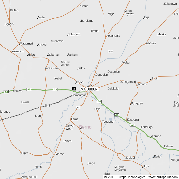 Map of Maiduguri, Nigeria from the Global 1000 Atlas