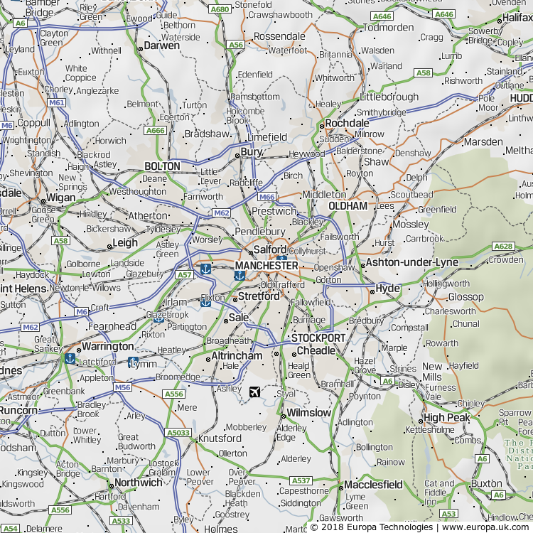 Map of Manchester, United Kingdom from the Global 1000 Atlas