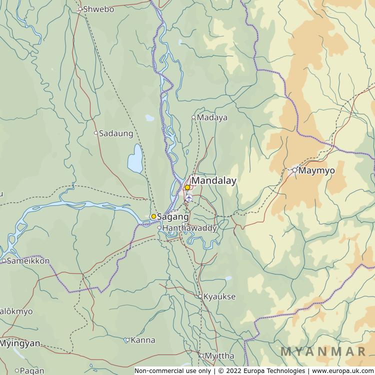 Map of Mandalay, Myanmar from the Global 1000 Atlas