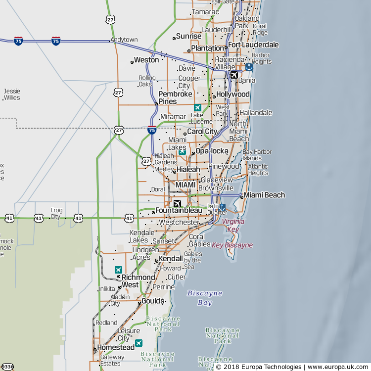 Map of Miami, United States from the Global 1000 Atlas