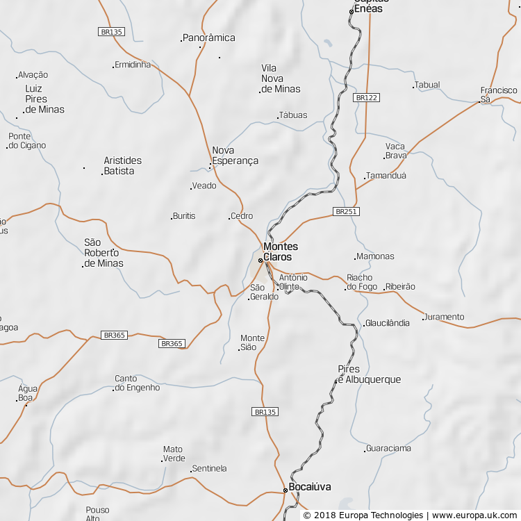 Map of Montes Claros, Brazil from the Global 1000 Atlas