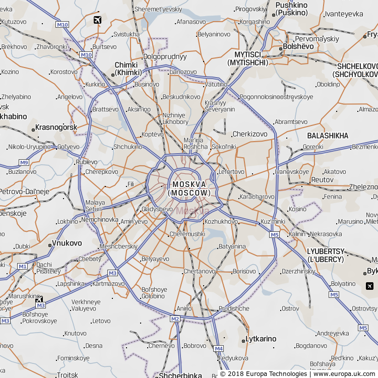 Map of Moskva (Moscow), Russia from the Global 1000 Atlas