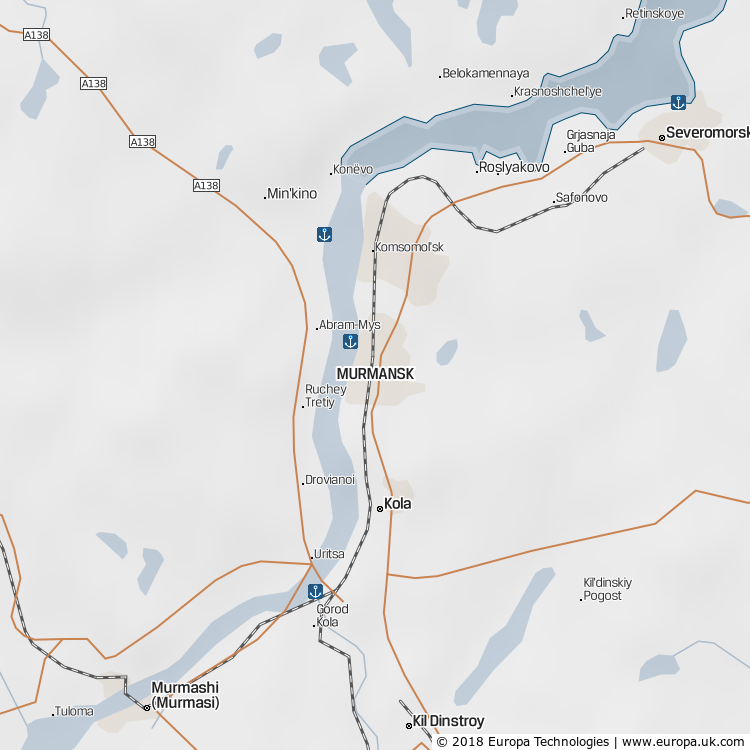 Map of Murmansk, Russia from the Global 1000 Atlas