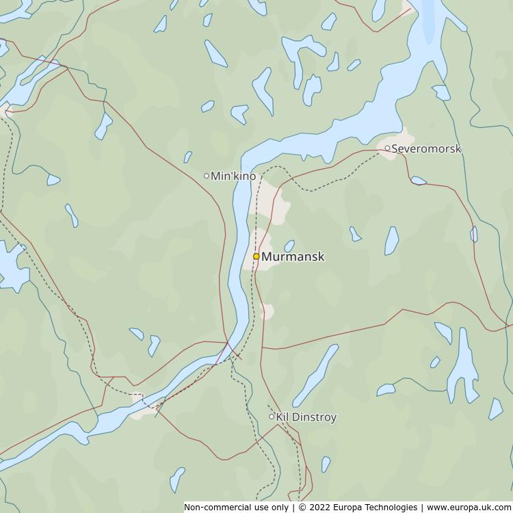 Map of Murmansk Russia Global 1000 Atlas
