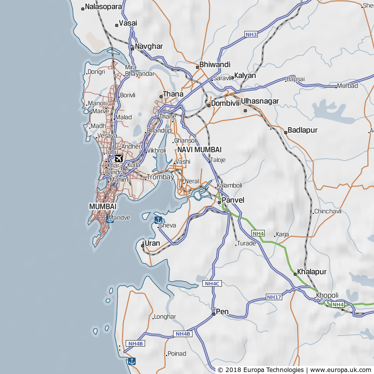 Map of Navi Mumbai, India from the Global 1000 Atlas