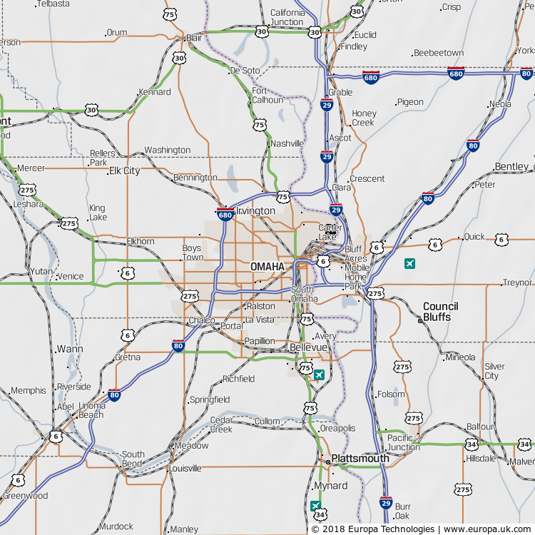 Map of Omaha, United States from the Global 1000 Atlas