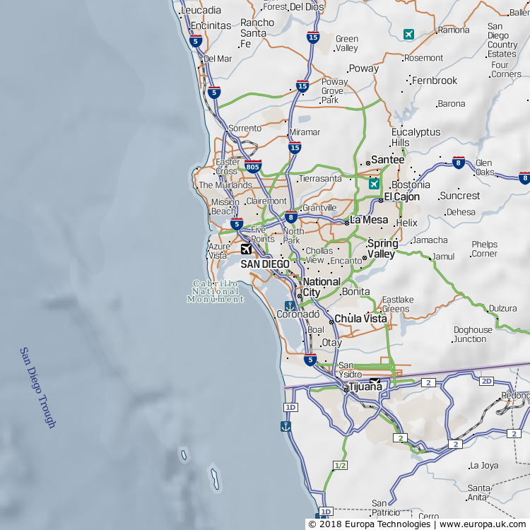 Map of San Diego, United States | Global 1000 Atlas