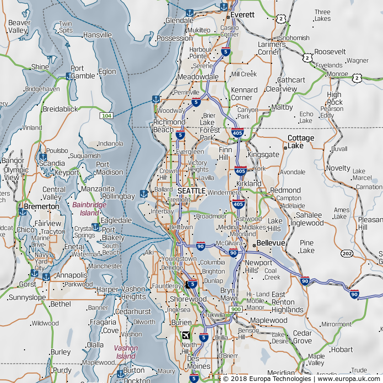 Map of Seattle, United States from the Global 1000 Atlas