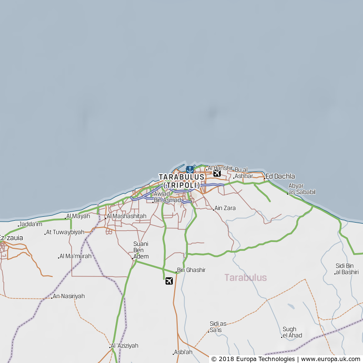 Map of Tarabulus (Tripoli), Libya from the Global 1000 Atlas