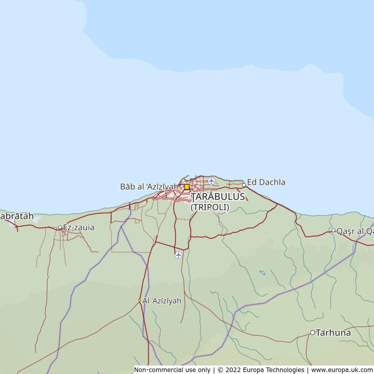 Map of Tarabulus (Tripoli), Libya from the Global 1000 Atlas