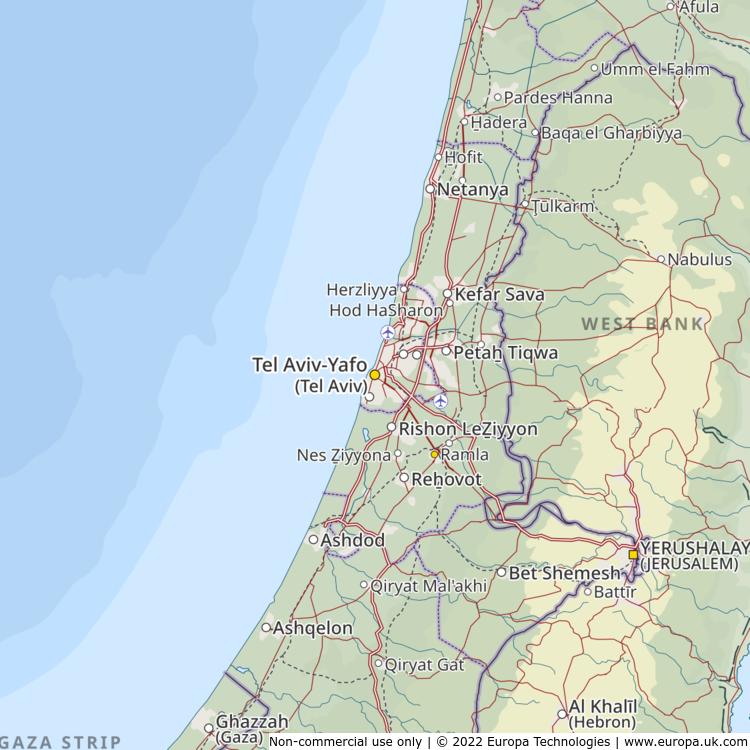 Map of Tel Aviv-Yafo (Tel Aviv), Israel from the Global 1000 Atlas