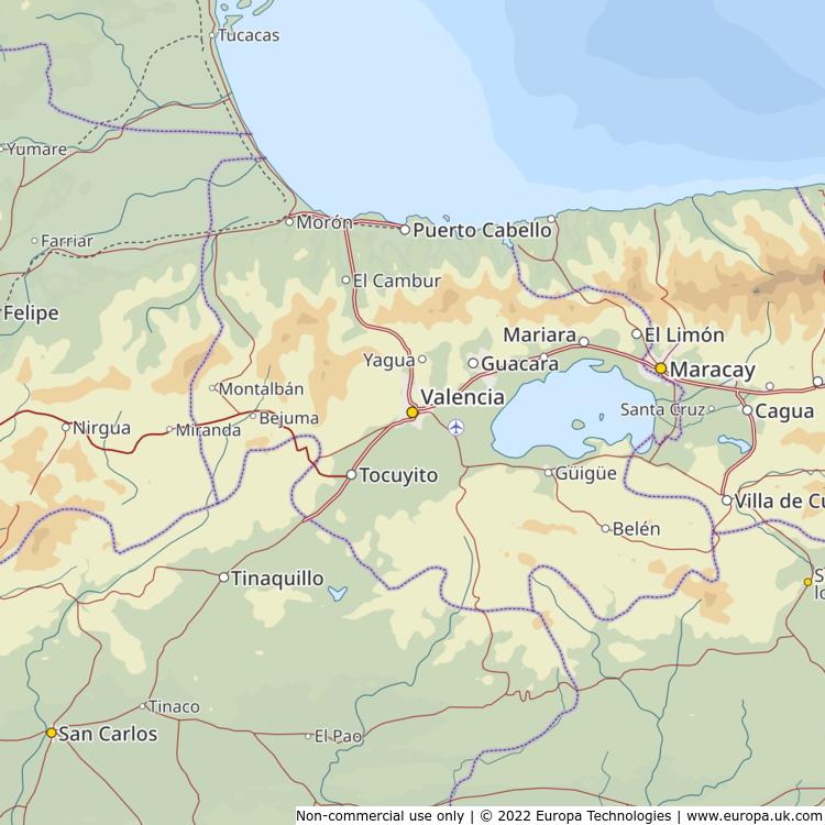 Map of Valencia, Venezuela from the Global 1000 Atlas
