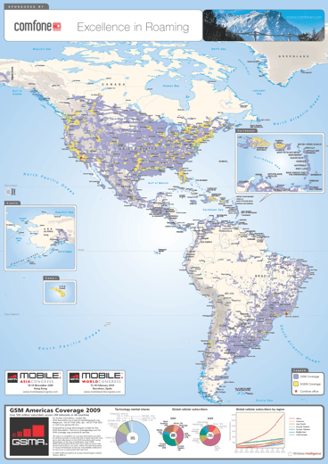 GSM Americas Coverage Map 2009