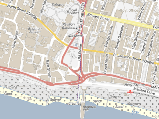 OS VectorMap Local - Brighton